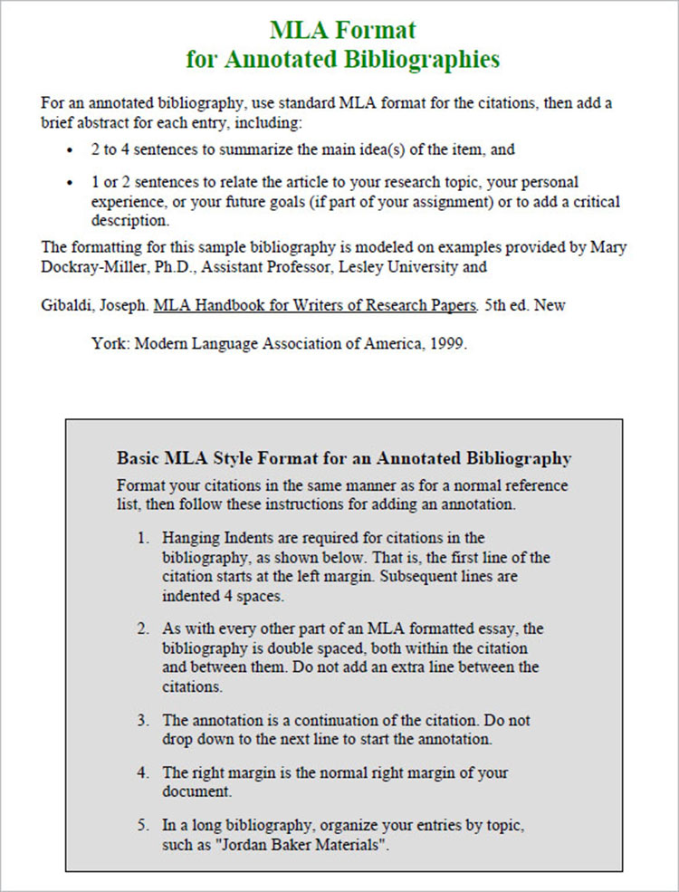 Mla Annotated Bibliography Template