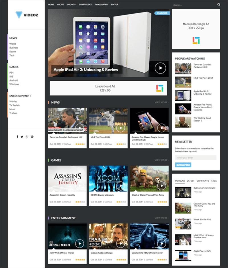Modern WordPress Video Theme