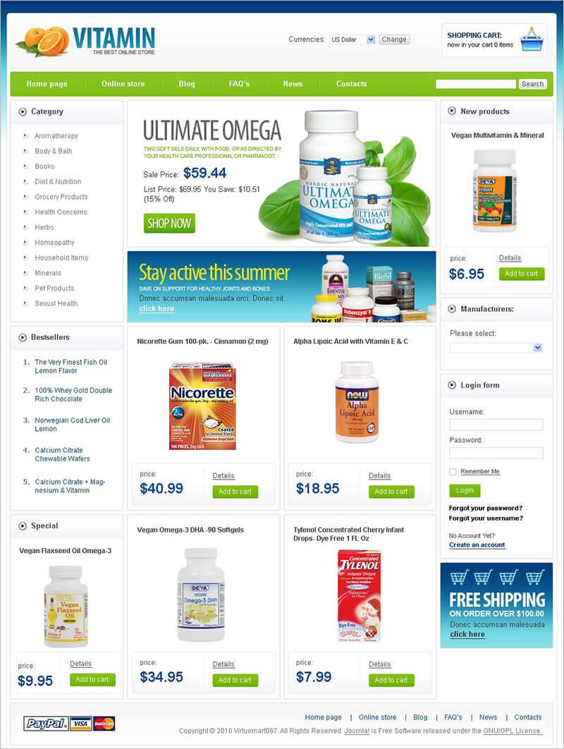 Nutrition Store VirtueMart Template