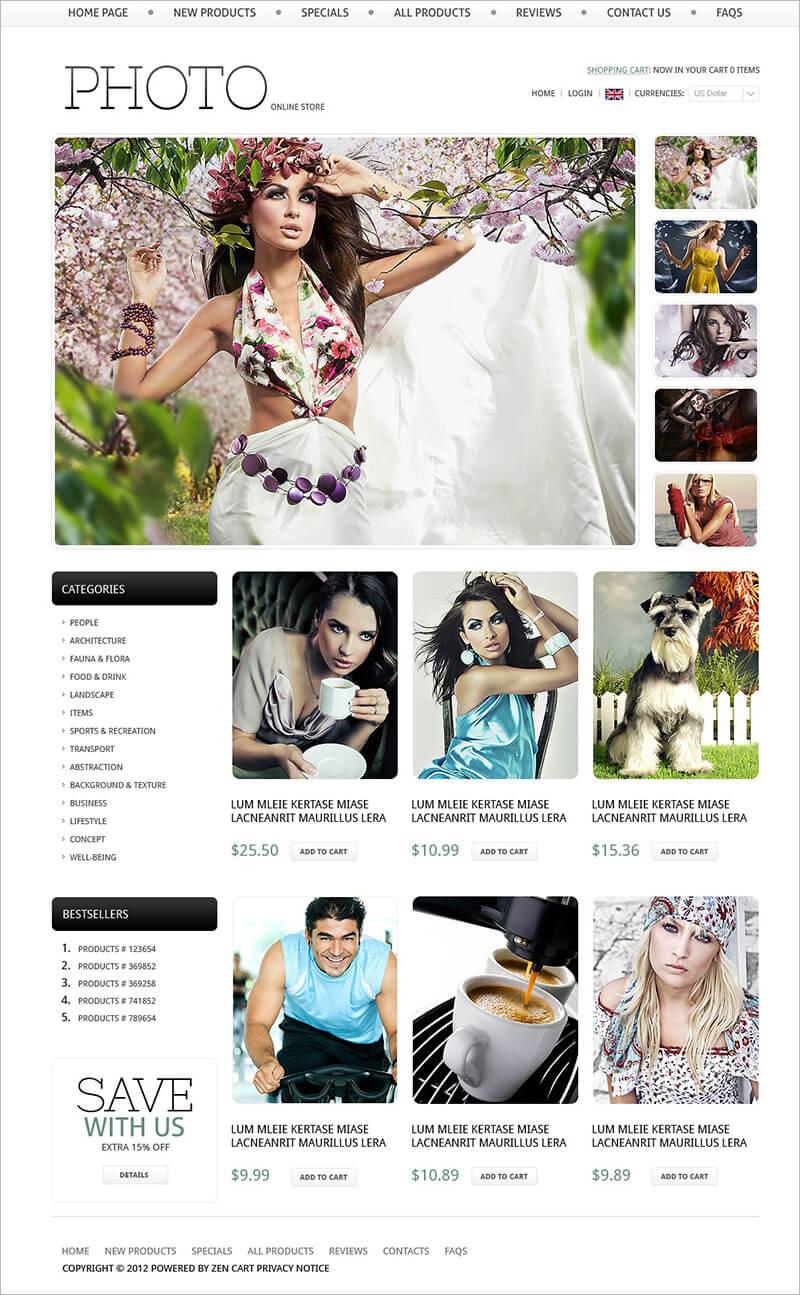 Online Photo Store Zen Cart Template