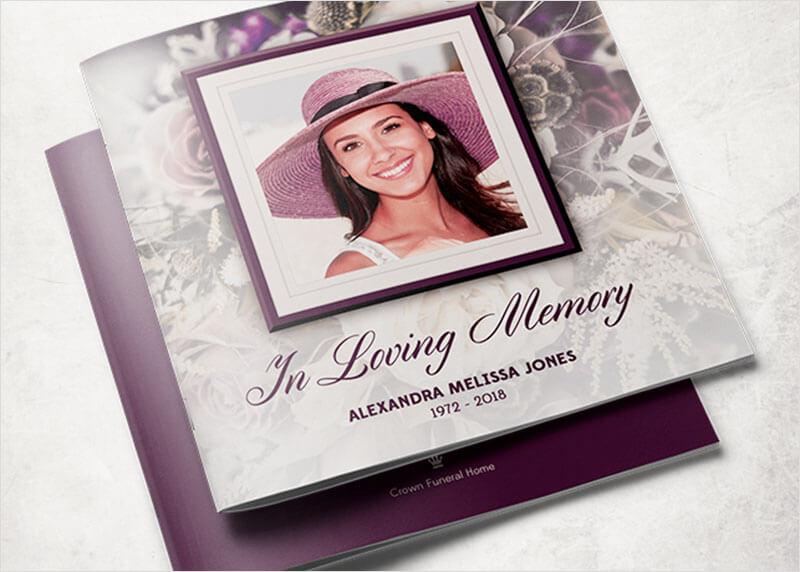 Purple Rose Funeral Program Template