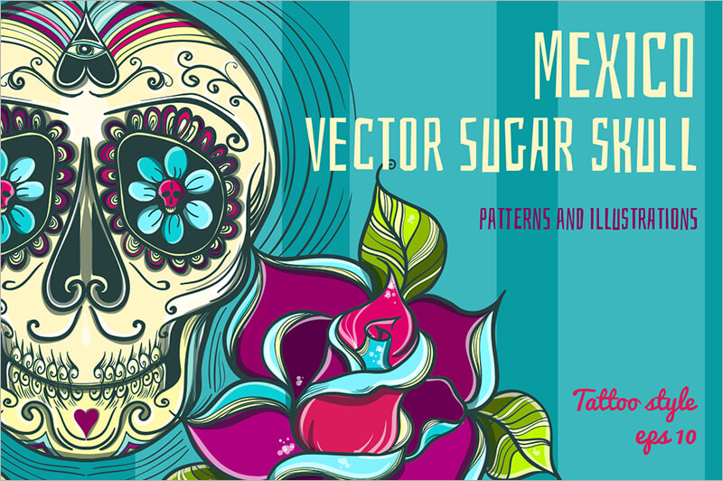 Tatto Style Vector Sugar Skull with roses