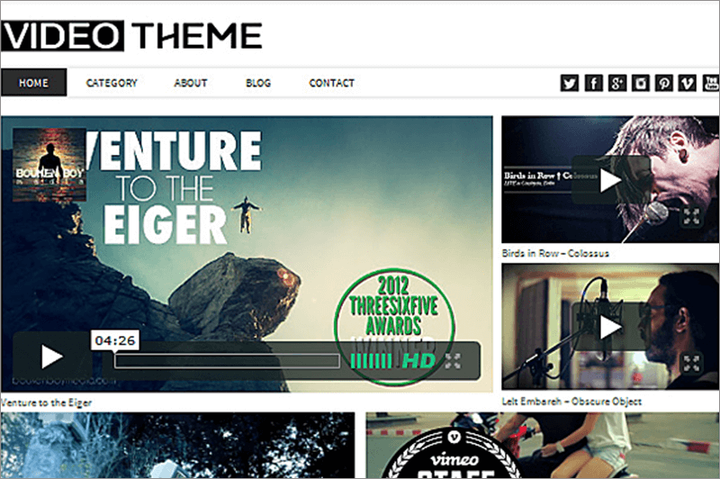 Video Responsive WordPress Theme