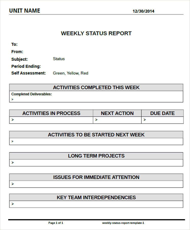 weekly report format Weekly status report is a summary of all work done during a week and how these activities contributed to the completion of a task or a project, or how each one brings the team closer to the.