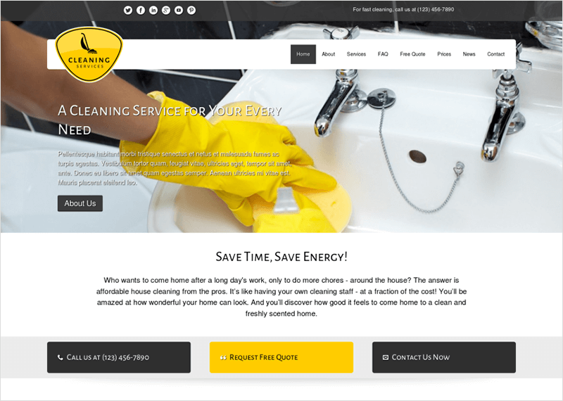 WordPress Cleaning Services Theme