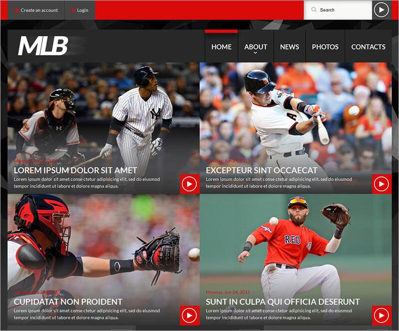 Baseball News Portal Website Template