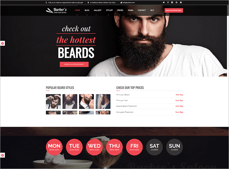 Bootstrap Template for Barbers & Hair Salon