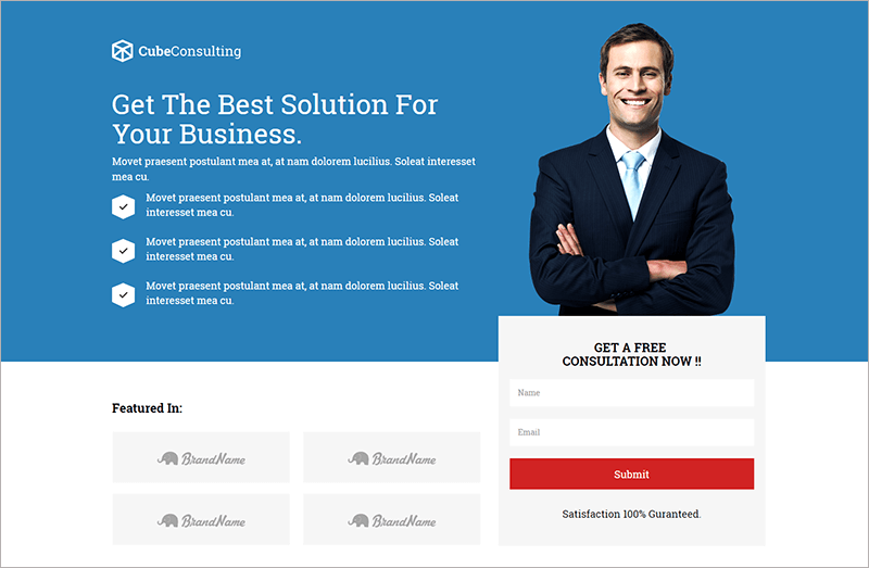 Cube Consulting HTML Landing Page Template