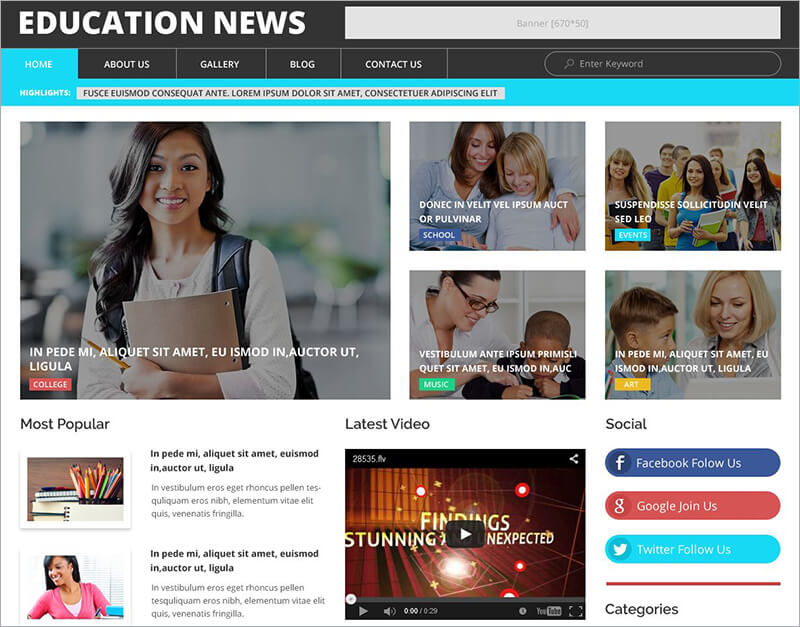 Education News WordPress Theme