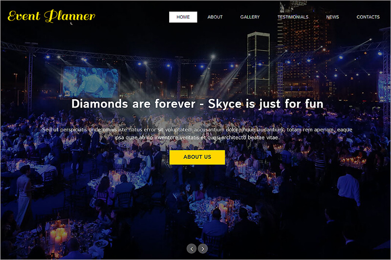 New Event Planner One Page Theme
