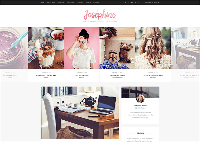 Feminine Html Template For Lifestyle Bloggers