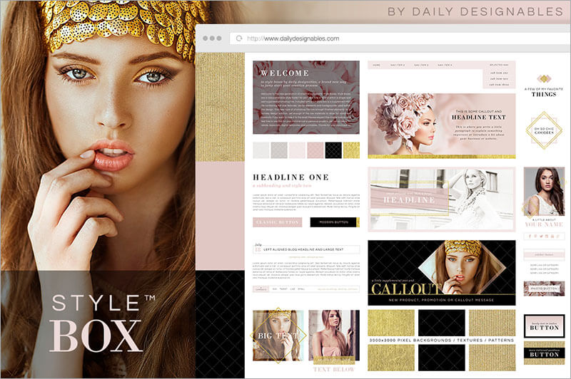 Feminine Style Box Blog Graphics Template