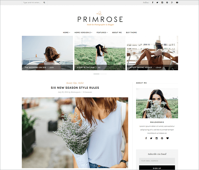Feminine WordPress Blog Template