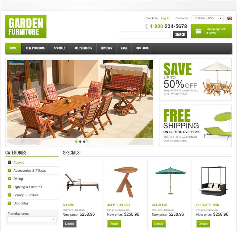Free Garden Furniture ZenCart Template