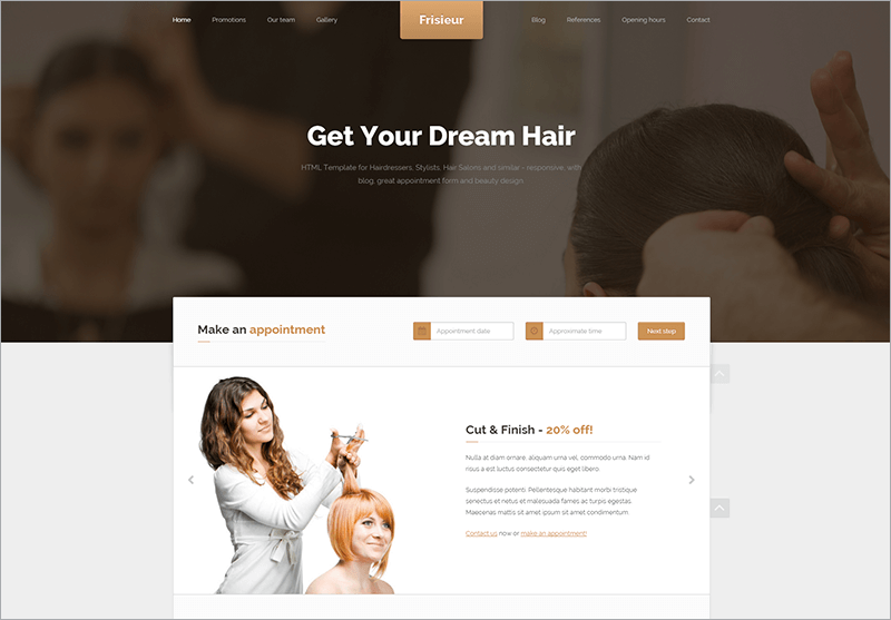 Free HTML Template for Hair dressers
