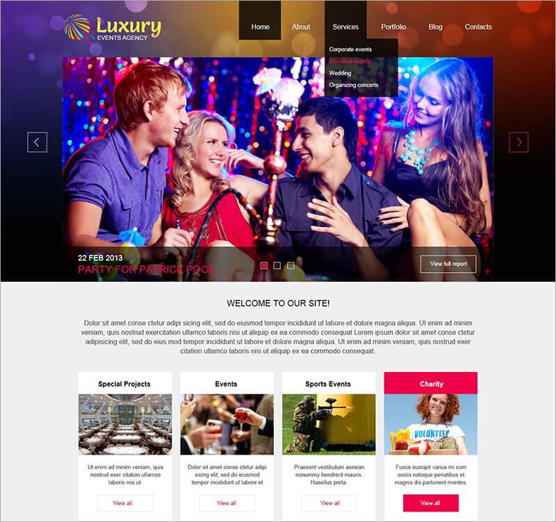 Free Luxury Event Planner Joomla Template