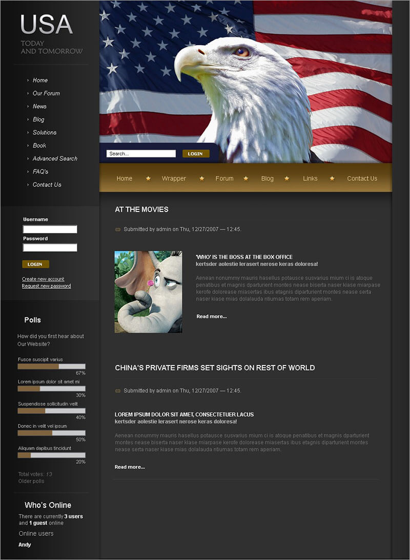 Free Political News Drupal Template