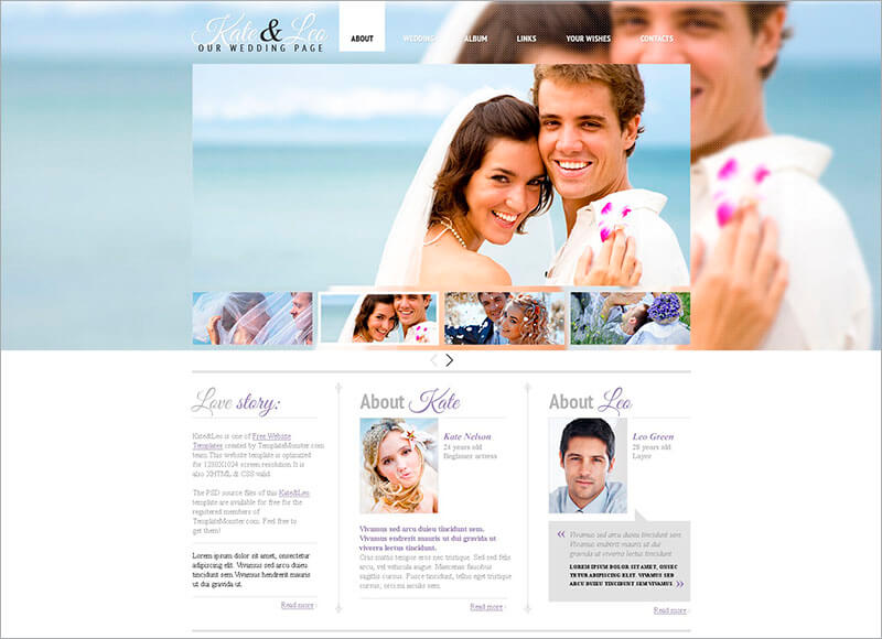 Free Wedding Html Template