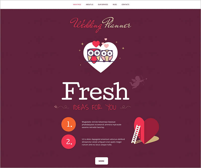 Free Wedding Planner Bootstrap Theme