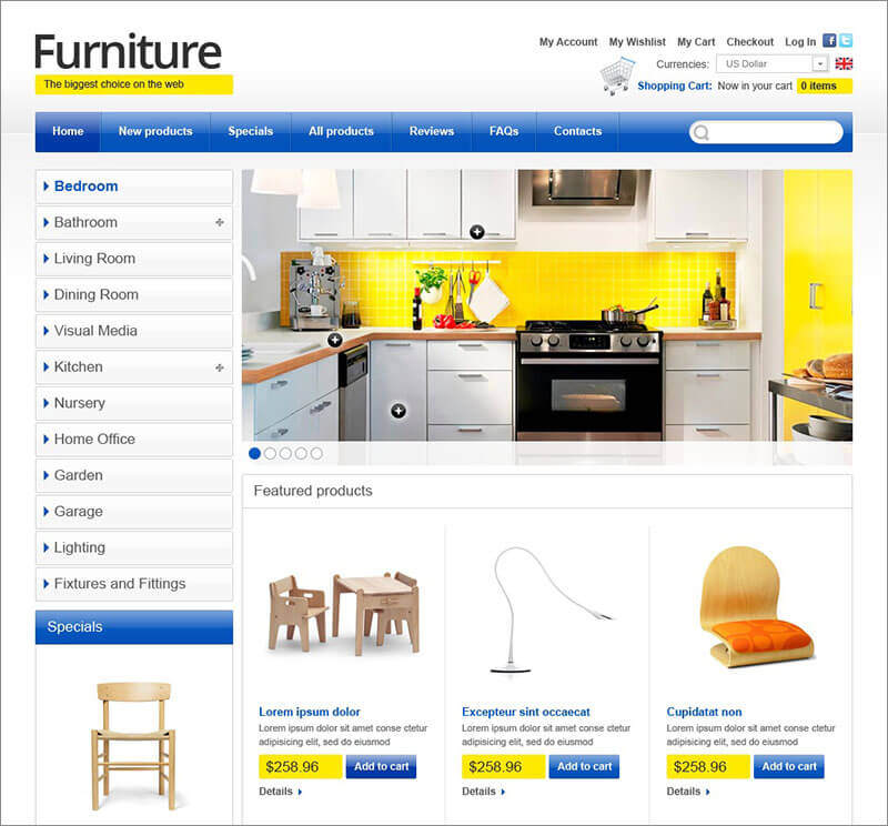 Furniture for Happy Life ZenCart Template