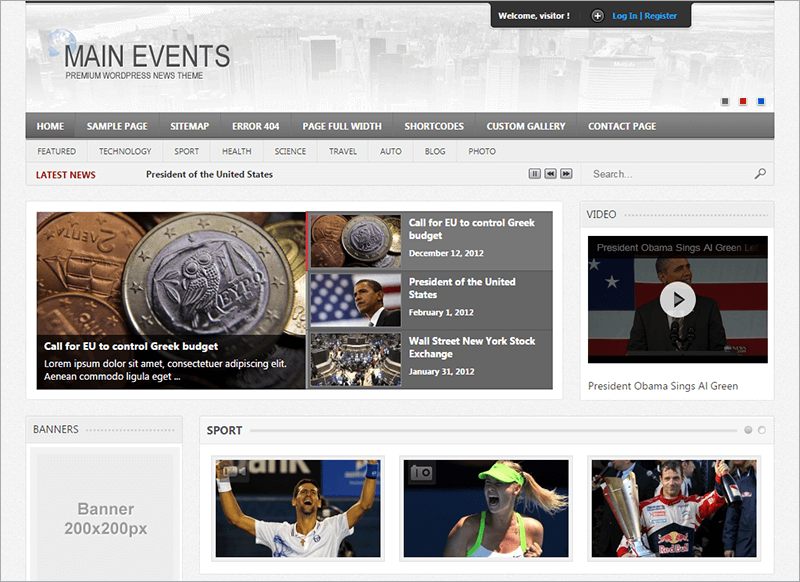 Main Events WordPress News Theme