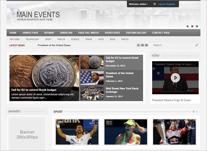 Main Events WordPress News Theme