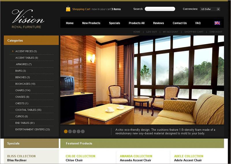 New Furniture ZenCart Template