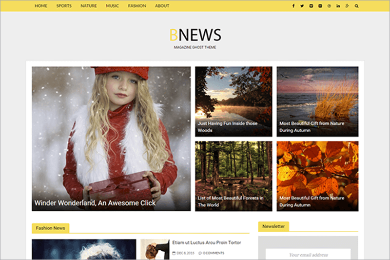 News Responsive News Ghost Theme