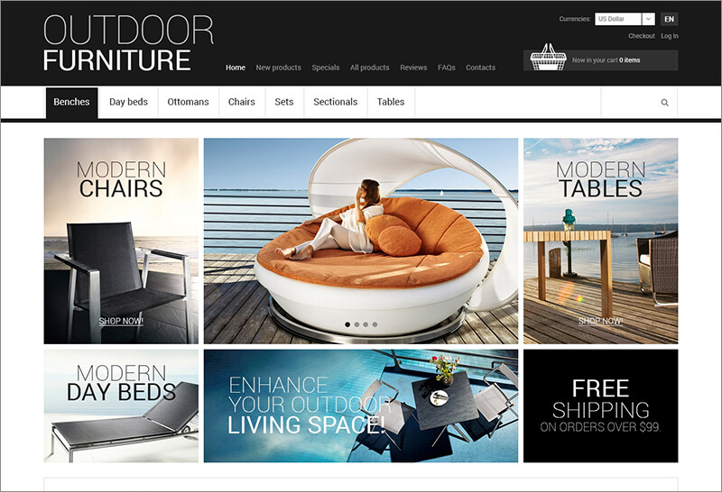 Outdoor Furniture Zen Cart Template ZenCart