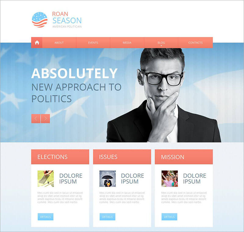 Political Candidate CMS HTML Template