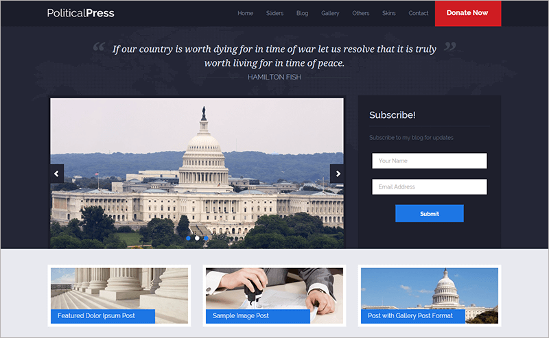 Political Press Responsive Bootstrap Theme