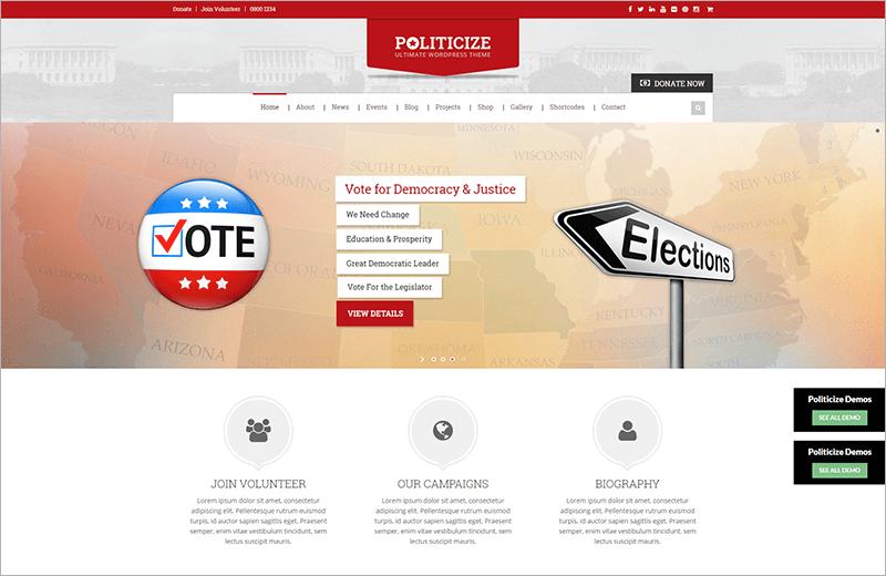 Political Responsive Bootstrap Theme
