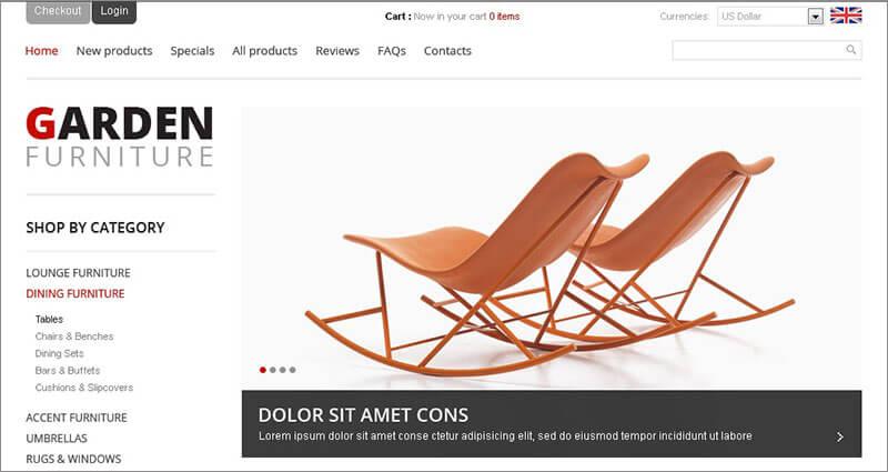 Premium Garden Furniture ZenCart Template