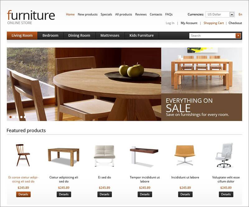 Premium Wooden Furniture ZenCart Template