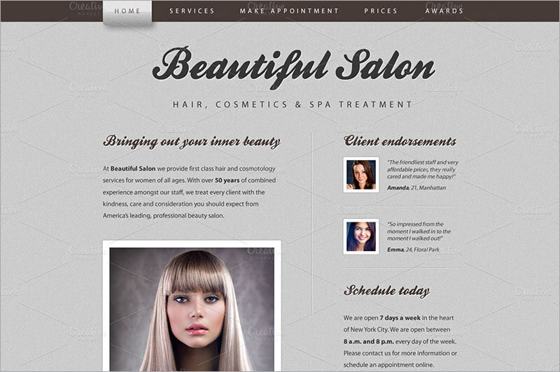 Responsive Beautiful Salon Website Template