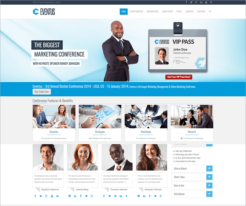 Responsive Event Management Joomla Template