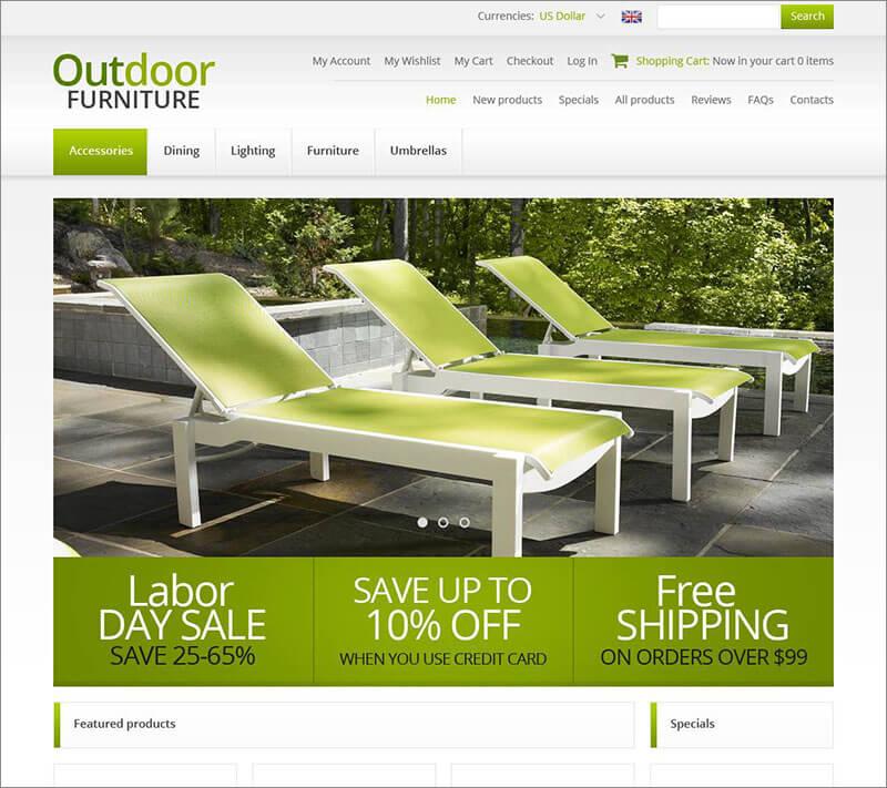 Responsive Outdoor Furniture ZenCart Template