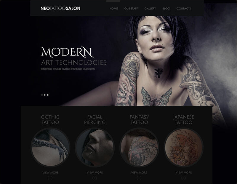 Responsive Tattoo Salon WordPress Theme