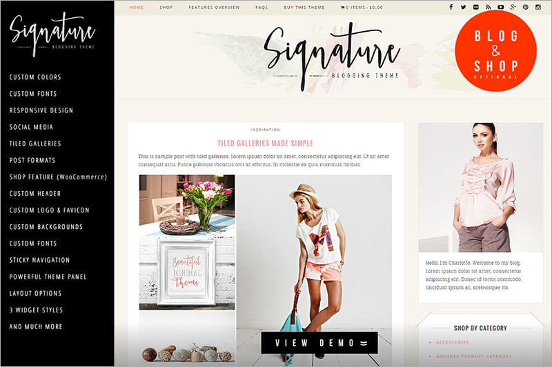 Signature Lifestyle Blog WP Template