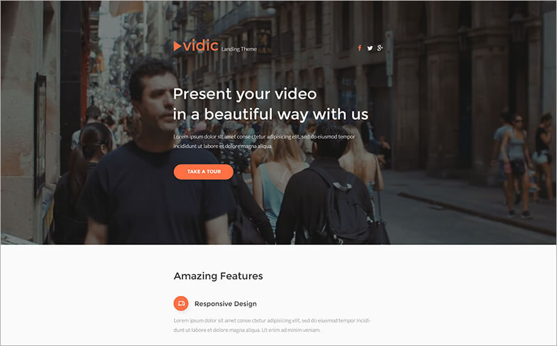 Video Gallery Responsive Landing Page Template