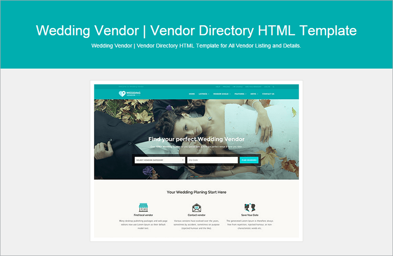 Wedding Vendor Directory HTML Template