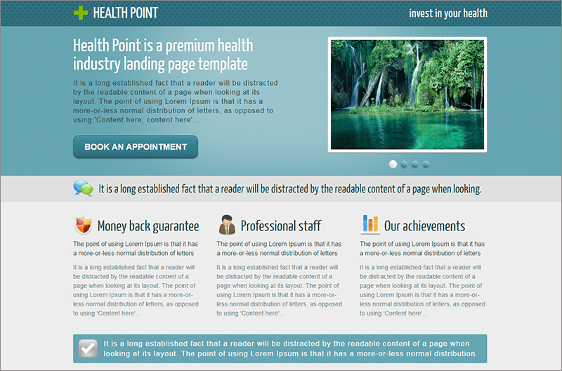 health industry landing page template. Black Bedroom Furniture Sets. Home Design Ideas