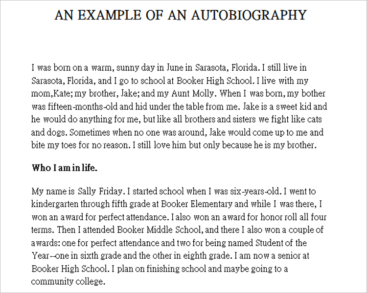 Autobiography Template