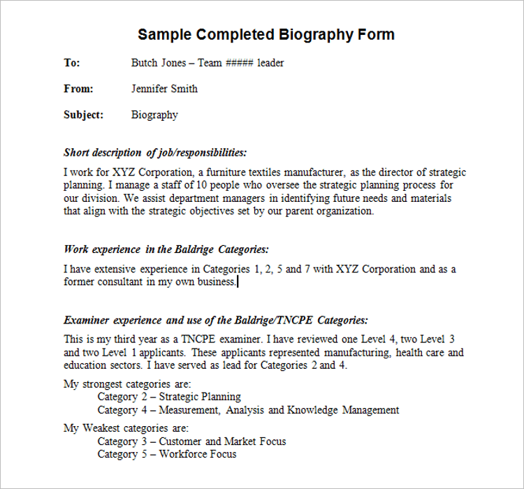 Biography Template Free Download