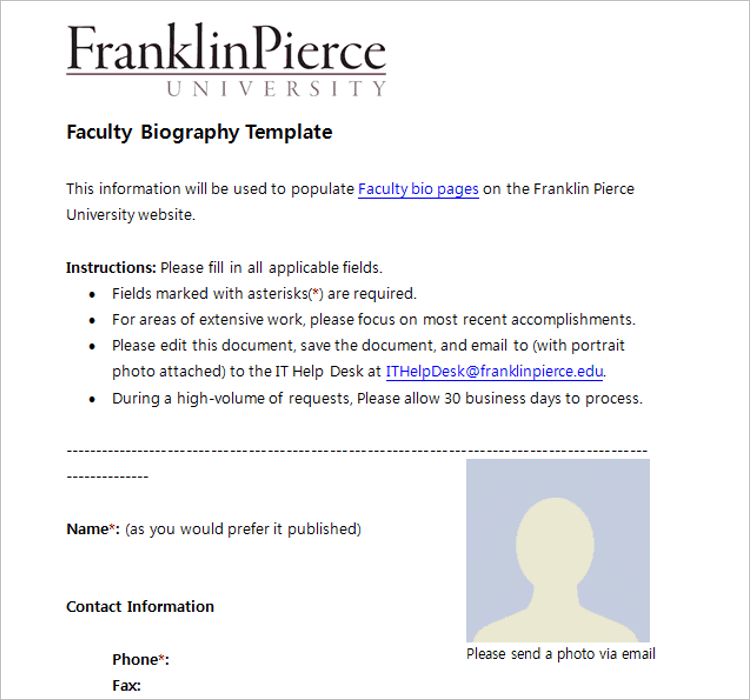 Faculty Biography Template