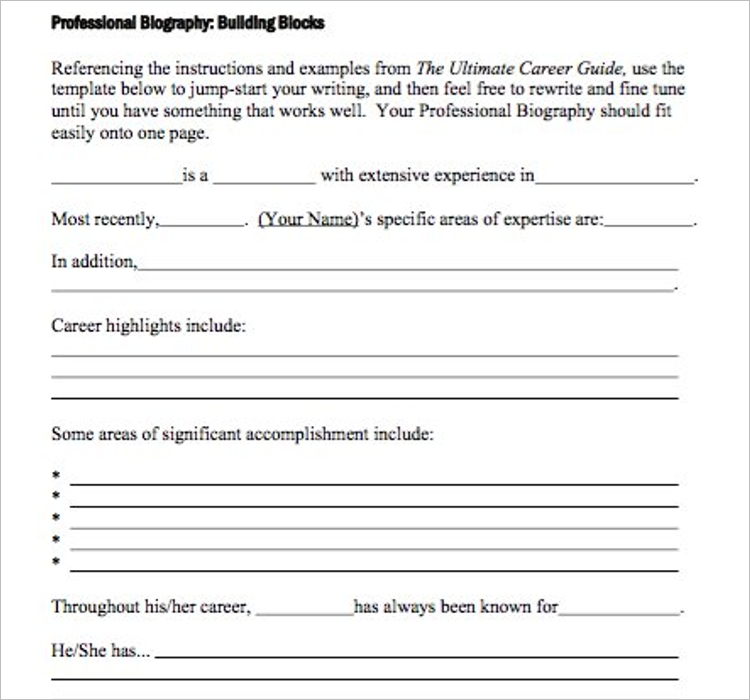Free Biography Template Doc