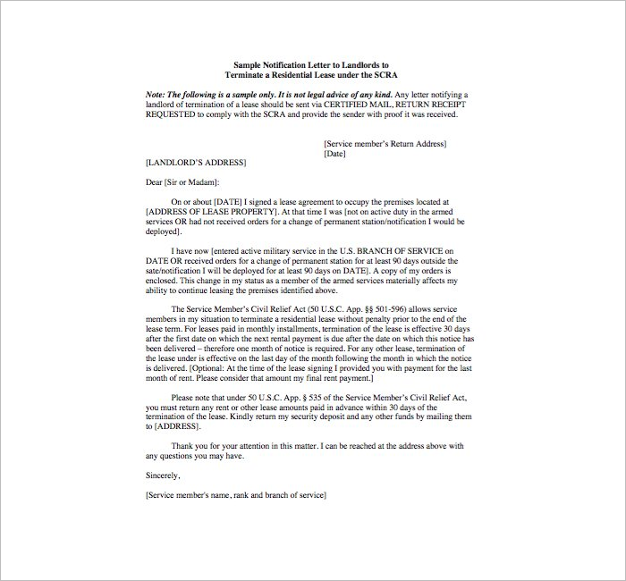 Landlord Lease Termination Letter Template