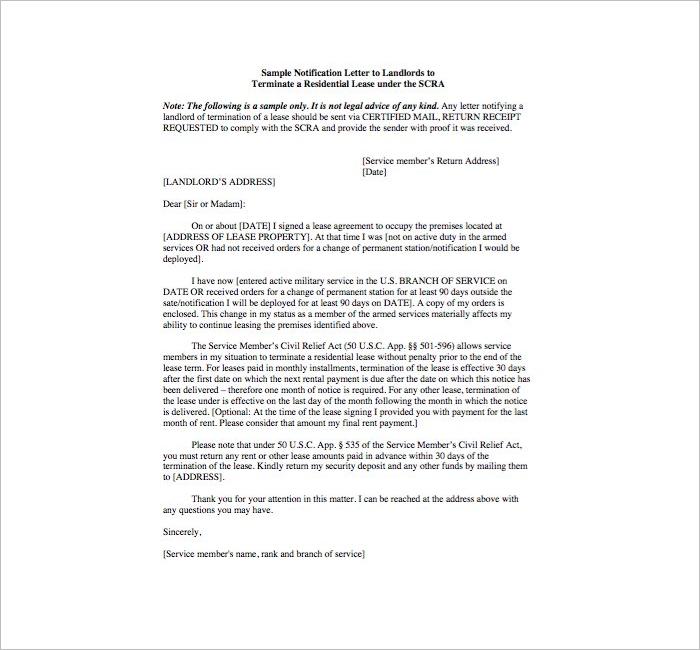 LandlordLease Termination Letter Template