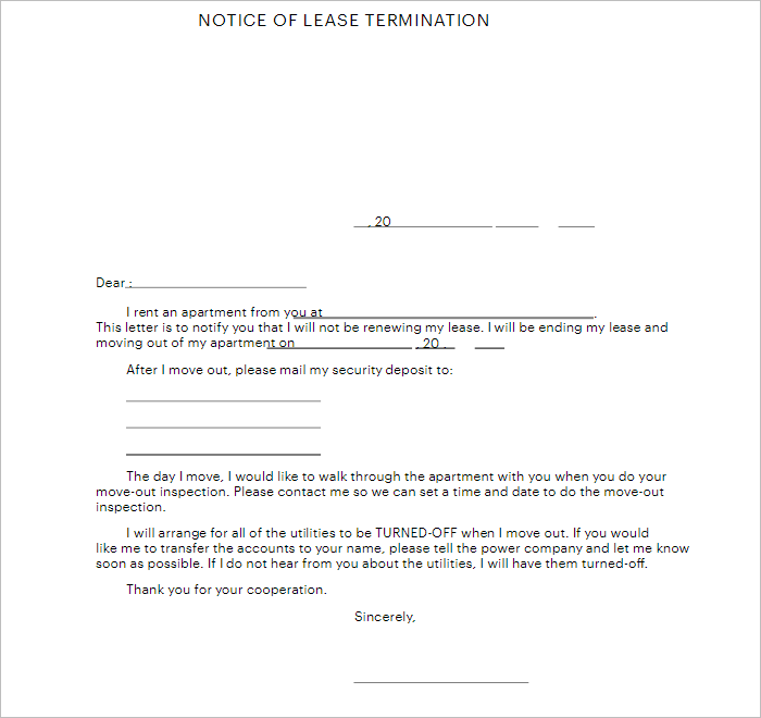 Lease Notice Of  Termination Letter