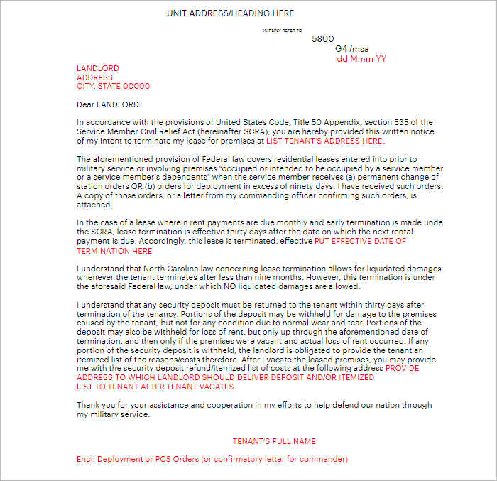 Lease Termination Letter Template Word